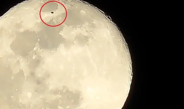 Aliens? Video Of Large Black UFO Shoving Off The Moon